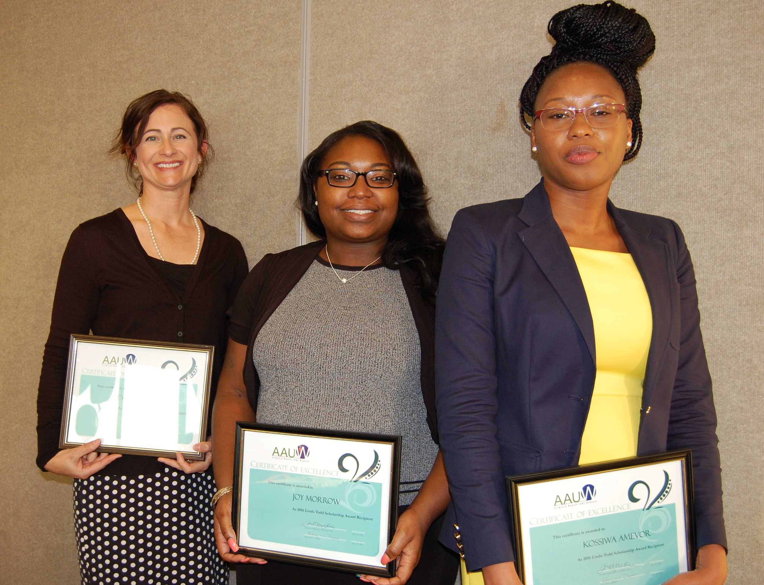 The 2013 Linda Todd Scholarship Recipients (l-r) Eveline Bruce, Joy Morrow, and Kossiwa Amevor