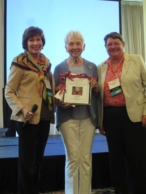 Presentation to Neola Waller by AAUW of Virginia Co- Presidents Patsy Quick and Sandy Lawrence. Pictured from left to right: Patsy Quick, Neola Waller, and Sandy Lawrence