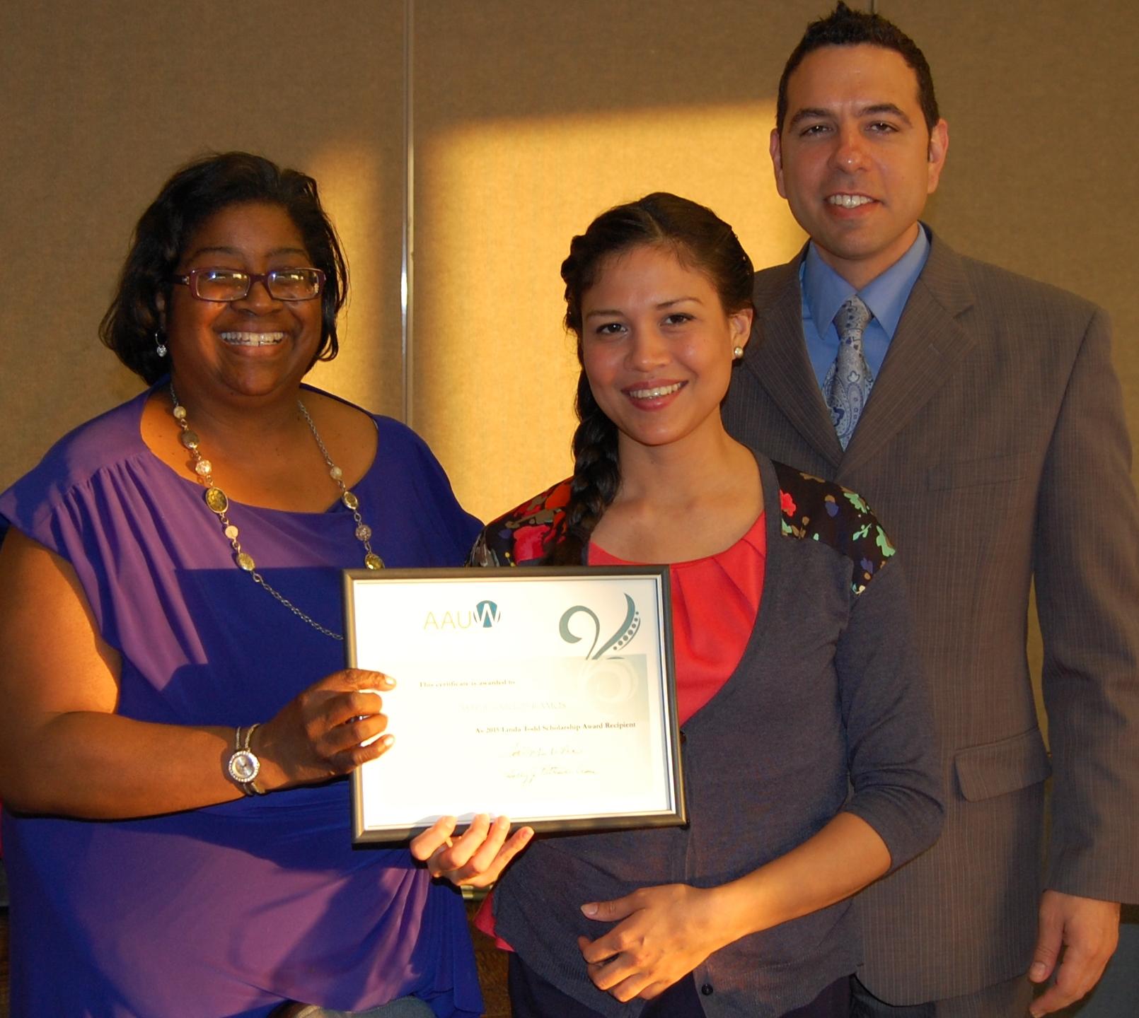 Scholarship recipient Maria Ramos and her husband.